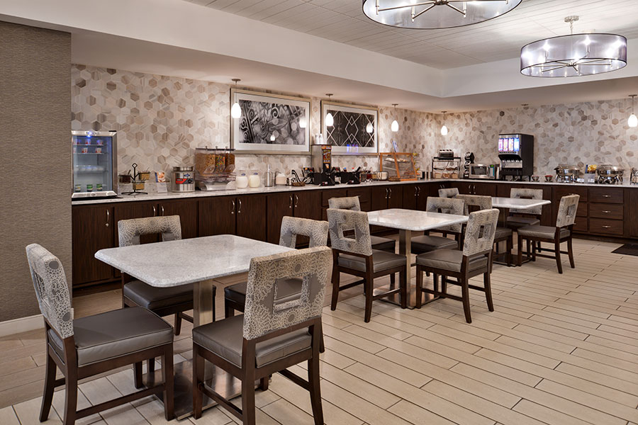 breakfast buffet and dining area